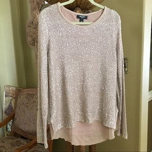 NINE WEST long sleeve gold sequin sweater